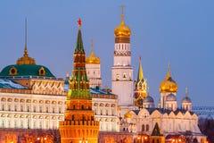 Illuminated Moscow Kremlin Stock Images