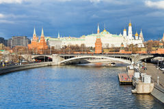Illuminated Moscow Kremlin and Moskva River Royalty Free Stock Photography