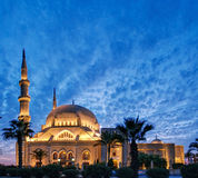 Illuminated mosque during twilight in lebanon Stock Photography