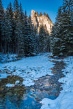 Illuminated mountains and river in winter, Tatra Mountains Royalty Free Stock Photography