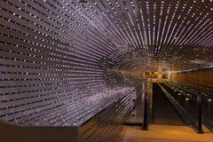 Illuminated moving walkway at the National Gallery of Art in Washington DC, USA. Royalty Free Stock Photo