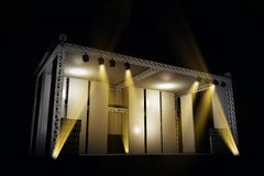 Illuminated Music Stage. 3D Illustration. Music Illustrations Collection Royalty Free Stock Photos