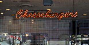 An illuminated neon Cheeseburger sign Royalty Free Stock Photo