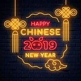 Illuminated neon signs chinese holiday light electric banner glowing on black brickwall. Happy new year text concept with oriental asian elements and piglet vector illustration