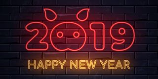 Illuminated neon signs winter holiday light electric banner glowing on black brickwall background. Happy new year text concept with piglet. Neons sign 2019 stock illustration