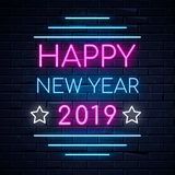 Illuminated neon signs winter holiday light electric banner glowing on black brickwall background. Happy new year text concept with stars. Neons sign 2019 pink stock illustration