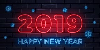 Illuminated neon signs winter holiday light electric banner glowing on black brickwall background. Happy new year text concept with snowflakes. Neons sign 2019 vector illustration