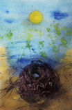 Illuminated Nest. A bird's nest with two small eggs is showered by the  sun; a Yellow Sun painting in a watercolored blue sky. Photo based mixed media image Stock Photos