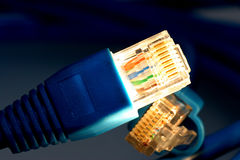 Illuminated network plug Stock Photography