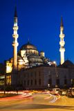 Illuminated New Mosque at Blue Hour with Blurred Car Lights, Istanbul Stock Photos