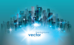 Illuminated night city skyline, vector illustration Royalty Free Stock Photography