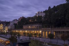 Illuminated night view of Karlovy Vary,Czech famous SPA place Stock Photos