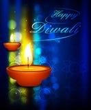 Illuminated oil lamp on beautiful diwali festival backg Royalty Free Stock Image