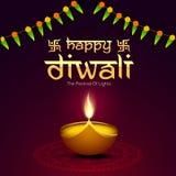 Illuminated oil lit lamp for Happy Diwali celebration. Stock Images