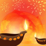 Illuminated oil lit lamps for Happy Diwali celebration. Royalty Free Stock Images