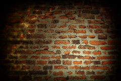 Illuminated old brick wall Stock Photography