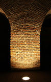 Illuminated old building pole. Illuminated old building brick pole from an medieval fortress stock images