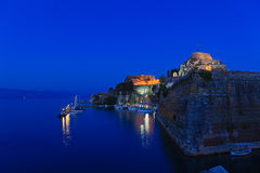 Illuminated  Old fortress and yachts Stock Photography