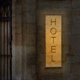 Illuminated old hotel Royalty Free Stock Photography