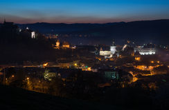 Illuminated old Sighisoara Stock Photos