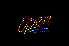 Illuminated Open neon sign Stock Photos
