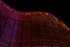 Illuminated openwork wall of steel Katowice. Poland stock photography