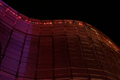 Illuminated openwork wall of steel Royalty Free Stock Photo