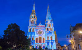 The illuminated Our Lady of Chartres cathedral, France.