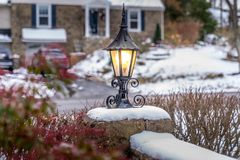 Outdoor lantern with snow at holiday season Stock Image