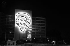 Illuminated outline sculpture of Camilo Cienfuegos, Royalty Free Stock Photos