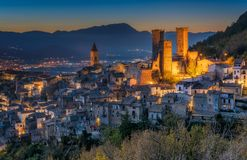 Illuminated Pacentro In The Evening, Medieval Village In L`Aquila Province, Abruzzo, Central Italy. Royalty Free Stock Photos
