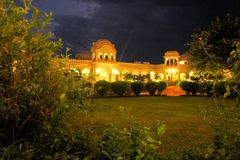 Illuminated Palace in Orcha at night, India. Stock Photo