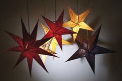 Illuminated paper stars Stock Image