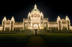 Illuminated Parliament Building, Victoria, Canada Royalty Free Stock Photo