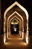 Illuminated passage inside Bahrain fort Stock Photos