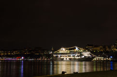 Illuminated passenger cruise ship. Stock Photo