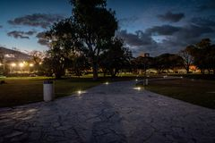 Illuminated path in Galileo Galilei planetarium in Buenos Aires stock photography