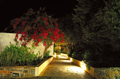 Illuminated path at luxury hotel Royalty Free Stock Image