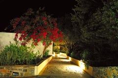 Illuminated path at luxury hotel royalty free stock image