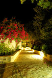 Illuminated path at luxury hotel Royalty Free Stock Photos