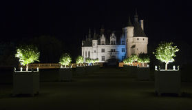 Illuminated path to a castle Royalty Free Stock Image