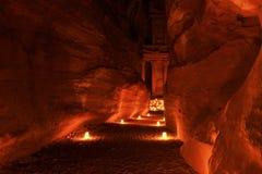 Illuminated Path to The Treasury (Al Khazneh) of Petra Ancient City Royalty Free Stock Photos