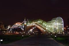 Illuminated pedestrian bridge Bohdan Khmelnytsky Stock Photography