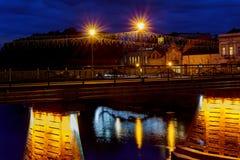 Illuminated pedestrian bridge in the center of Uzhgorod the evening, Ukraine Royalty Free Stock Photo