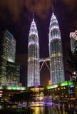 Illuminated Petronas Twin Towers fondly known as KLCC at night Royalty Free Stock Image