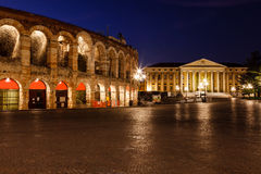 Illuminated Piazza Bra and Ancient Amphitheater Royalty Free Stock Photos