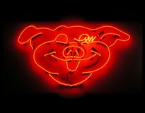 Illuminated pig neon sign for butcher shop Stock Photos