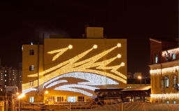 Illuminated plant wall Stock Photo