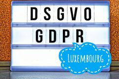 Illuminated plate with the inscription DSGVO and GDPR Datenschutzgrundverordnung in English GDPR General Data Protection Regula stock photo