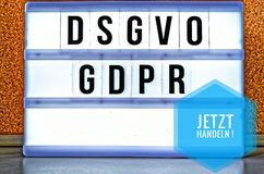Illuminated plate with the inscription DSGVO and GDPR General Data Protection Regulation in English GDPR General Data Protectio stock image